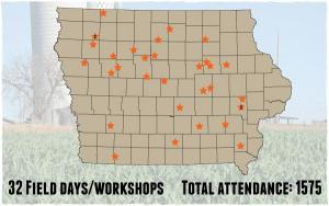 map of Iowa Learning Farms field day locations for 2016